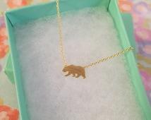 Gold California Bear Dainty Necklace, Women's Necklace, Danity Necklace, Minimalist Necklace, Bridesmaid Gift, BEST SELLER