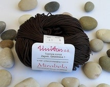Cotton yarn - BROWN - 100% mercerized cotton yarn for knitting and crochet by Unitas - 50g/142m - Color number 41
