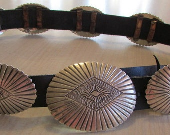 Navajo DB Sterling Silver Concho Belt on Leather