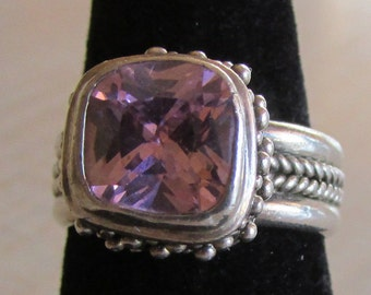 Sterling Silver and Pink Faceted Stone Ring  Size 6 3/4