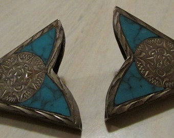 Sterling Silver Turquoise Inlay Collar Tips from Mexico