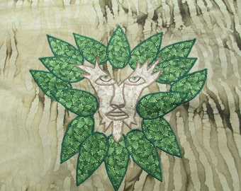Green Man Alter Cloth, OOAK Handmade Green Man Alter Cloth, Tarot Cloth, Jack O The Green Alter Cloth