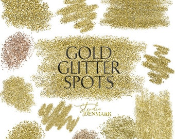 Gold Glitter Spots Clipart - Glitter Brush Strokes - Gold Bling for Blogs - High Res Glitter Dots - Gold Confetti Labels - Instant Download
