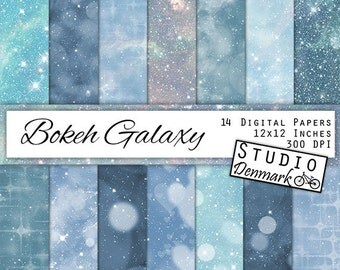 Bokeh Galaxy Digital Paper - Blue and Green Night Sky -  Celestial Blue Bokeh - Indigo Backgrounds - Starry Night - Instant Download