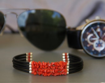Man in red coral bracelet Corsica real certified, silicon and Silver 925