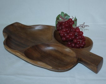 MonkeyPod Wood Bowl Aloha Hawaii Serving Tray 1960s Leaf Shaped Genuine with Label MCM