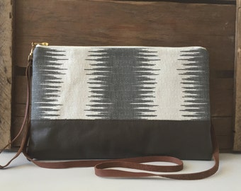 SALE! Large Nora Ikat & Leather Clutch in Grey