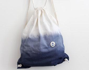 Rucksack Bio-Baumwolle Dip Dye Anker maritim Tasche Turnbeutel blau Gymsac