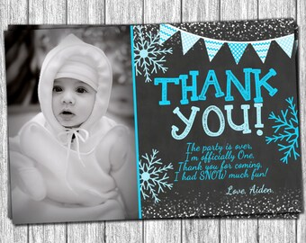Winter Onederland Thank You Card - Personalized Snowflake Thank You Cards