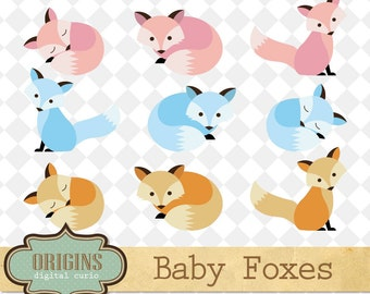 Baby Foxes Clipart - PNG and Vector Clipart Set Cute Fox Clip Art for Commercial Use, baby forest animals, baby shower clipart, woodland fox