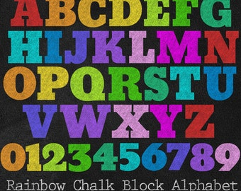Rainbow Chalk Block Letters - Chalkboard Alphabet and Numbers Multicolor PNG Clipart Set