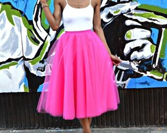 The Fuchsia Tea-length Tulle Skirt (SALE!!)