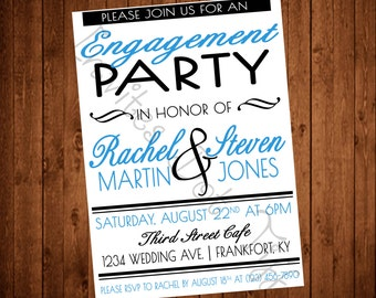 Modern White Engagement Party Invite (Printable)