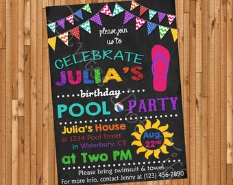 Pool Party Printable Birthday Invitation