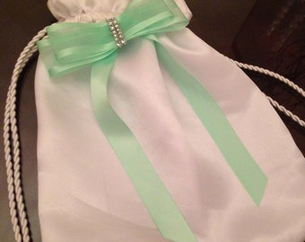 Glam White Satin Bride Wedding Money Dance Bag w/ embellishments