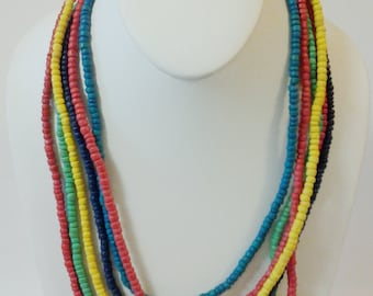 Multi Strand Beaded Necklace / Multi Colored Statement Wood Necklace.