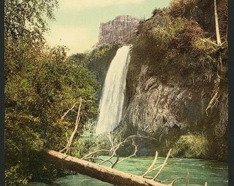 Spearfish Falls, South Dakota 1901. Vintage photo postcard reprint 8x10-up. Waterfalls South Dakota Black Hills