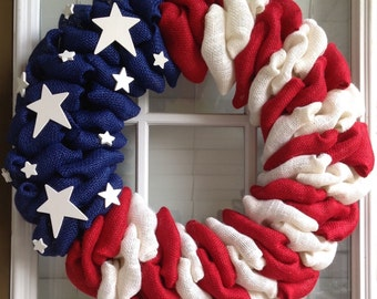 Patriotic Wreath - Burlap Wreath - 4th of July Wreath - Summer Wreath - Spring Wreath - Door Wreath - American Flag