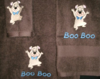 Boo Boo Bear Persoanlized 3 piece Towel Set Bathtowel, Handtowel, & Washcloth Any Color