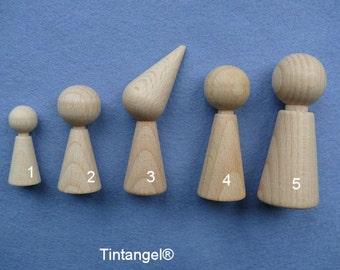 Wooden cones, wooden dolls.