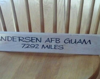 Custom made direction distance sign (similar to MASH style signs)