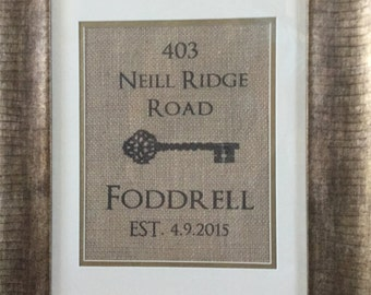 Custom Burlap Address Sign with Victorian Key- perfect for holiday or real estate closing gifts!