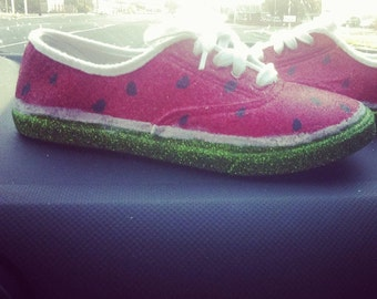 Watermelon shoes. Glitter flats. Keds.