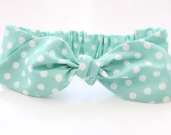 Minty Baby knot headband - mint polka dot toddler bow hairbow turban baby