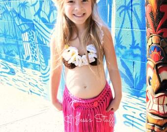 Hula girl outfit - hula girl costume - girls grass skirt - pink grass skirt
