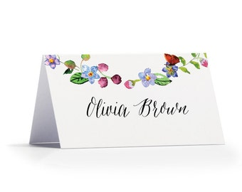 Personalised Floral Name Place Cards - Floral Chain Wedding Place Cards - Floral Chain Wedding Name Place Cards by Paper Charms
