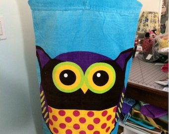 OWL design Hooded Cotton Beach Towel Wrap Personalized