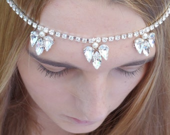 Bridal Forehead Band, Swarovski Brow band, Diamanté and Pearl, Wedding hairpiece, Bridal Accessories,  Evelyn