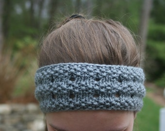 Grey Handknit Ear Warmer/Headband
