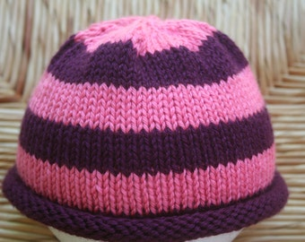 Pink Striped Roll Bottom Hat for Babies and Toddlers / Pink Baby Hat / Pink Baby Beanie / Pink Toddler Hat / Pink Toddler Beanie