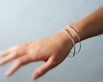 Hammered silver bracelet, fine silver bangle,forged jewelry, skinny bracelet, bangle set, thin bracelet, Silk Road Bangles