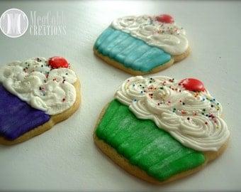 12 Cupcake Sugar Cookies, Large, shimmery cupcake papers, rainbow sprinkles, cherry, cupcake, dessert, personalized, birthday, cookies, food