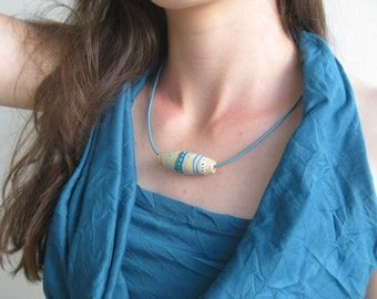 Hand painted  wooden necklace / Wooden jewelry / Blue necklace / Gift for her