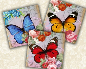 Digital Collage Sheet Shabby Chic Butterfly Printable download 3.8x3.8 inch size Images for coasters, paper craft, home decoration, card