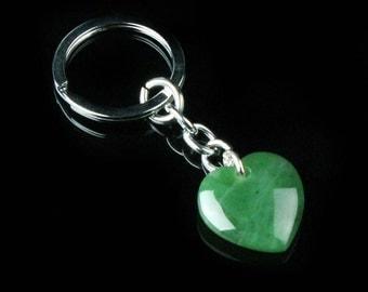 Canadian Nephrite Jade Key Chain, Jade Heart