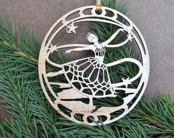 Ballet Dancer ornament wood cut design woodcut Ballerina decoration