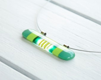 Long Striped Fused Glass Necklace- Fused Glass Pendant- Green Necklace