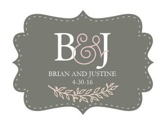 Wedding Custom Logo Monogram Branding Boutique Logo Design Marketing Customized Brand for Invitations Bride Groom Wedding Invite
