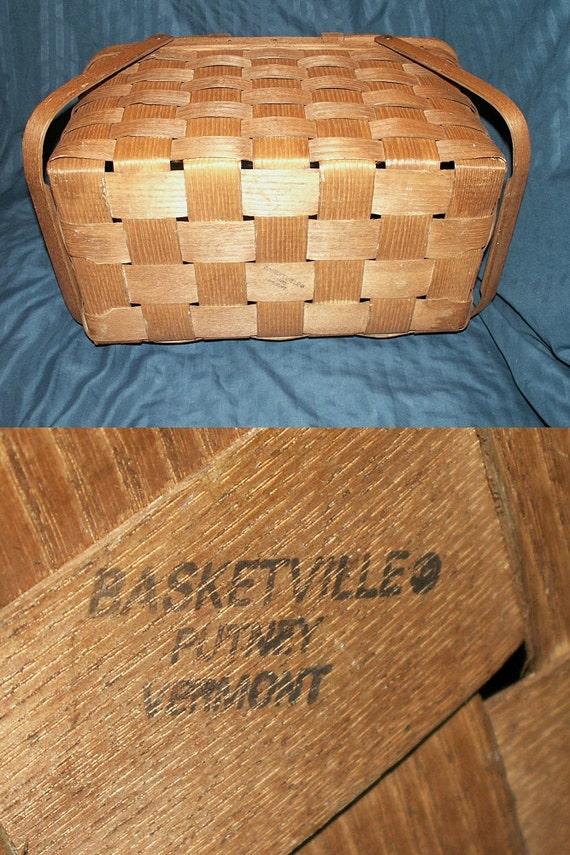 Vintage Basket Basketville Wooden Picnic Basket By