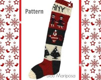 Knitting Pattern Vintage-1940s Knit Personalized Christmas Stocking Pattern- Retro-Bohemian Clothing- Hippie Retro pdf file-Vtg DIY