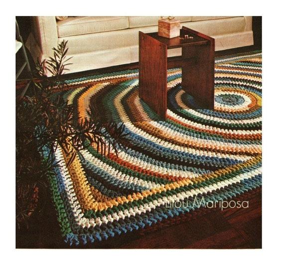 Vintage Effect Rug: Crochet Pattern Vintage 70s Crochet Rug Pattern Mat Scatter