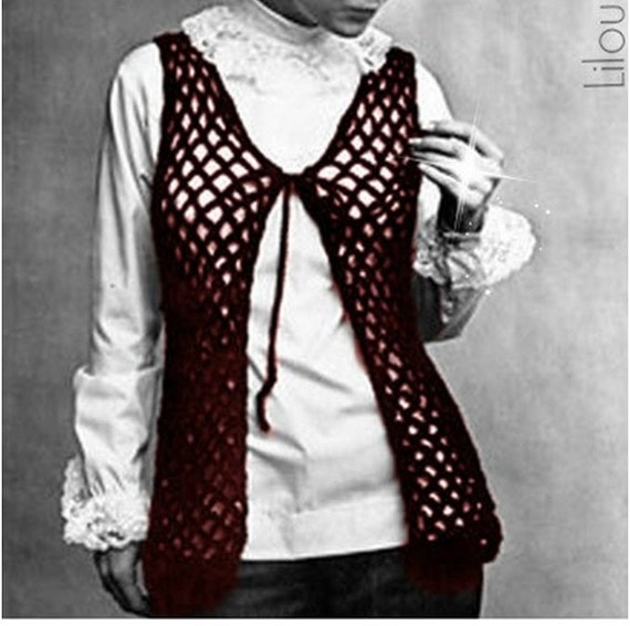 Crochet Top Pattern Vintage 70s Crochet Vest Pattern From