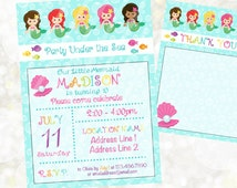 Mermaid Digital Invitation - Mermaid Birthday Invitation - You Print - Under the Sea Theme - Mermaid Party - Beach Party - Mermaid Theme