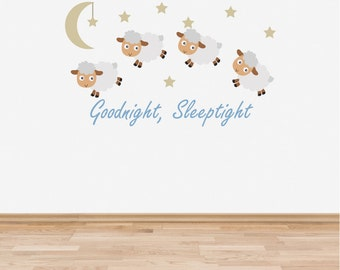 Wall Decal Nursery Goodnight Sleep Tight Counting Sheep Baby Room Wall Sticker Blue