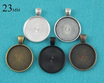 25 Pieces 23mm Round Pendant Tray, Bezel Pendant Blank, 7/8 inch Cabochon Settings  - Silver, Bronze, Copper, Antique Silver, Black