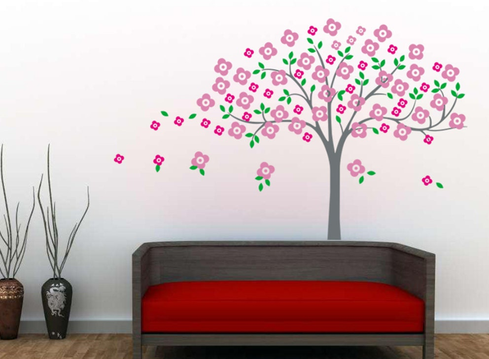 Cherry Blossom Wall Decal Blowing Pink Flower By